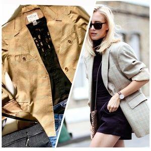 Oscar De La Renta Trendy Oversized Plaid Blazer